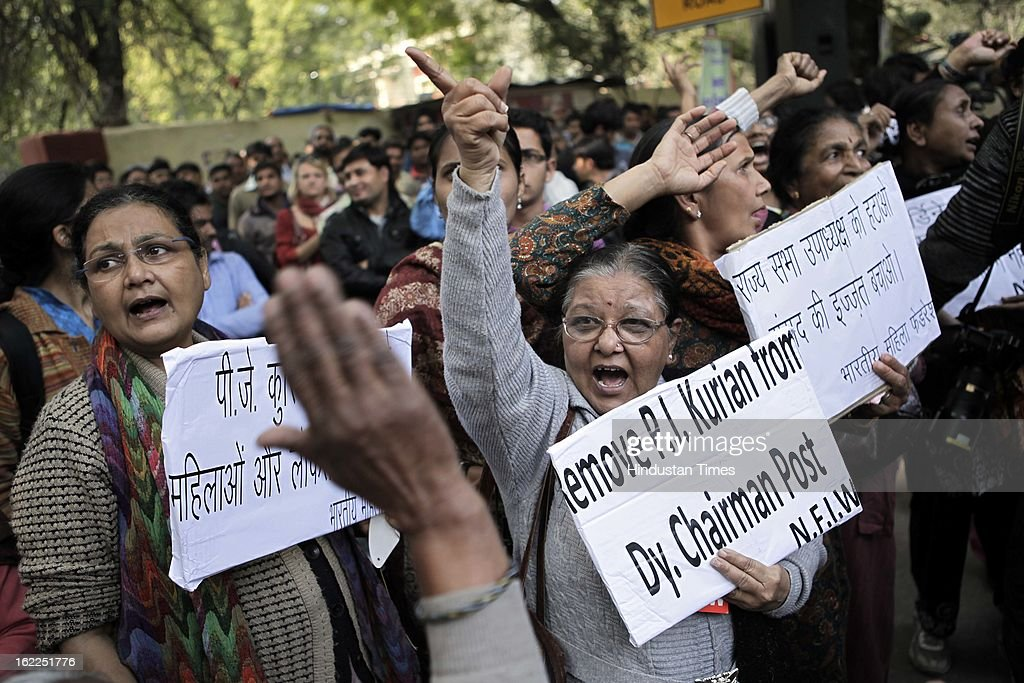 Students demonstrate during a protest at Jantar Mantar on February 21, 2013 in New Delhi, India. Various organisation and students gathered demanding the Indian lawmaker to implement striker law on sexual violence.