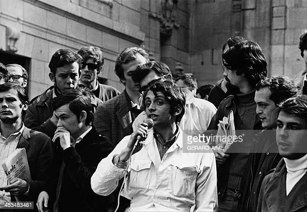 Students demonstrating at the Sorbonne university in Paris France in May 1968 from left to right Jacques Sovageot JeanMarcel Bouguereau Olivier Castro