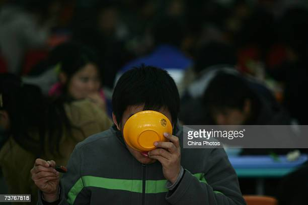 Students dine in a dining hall of Jilin University on April 1 2007 in Changchun of Jilin Province China Jilin University a key university in...