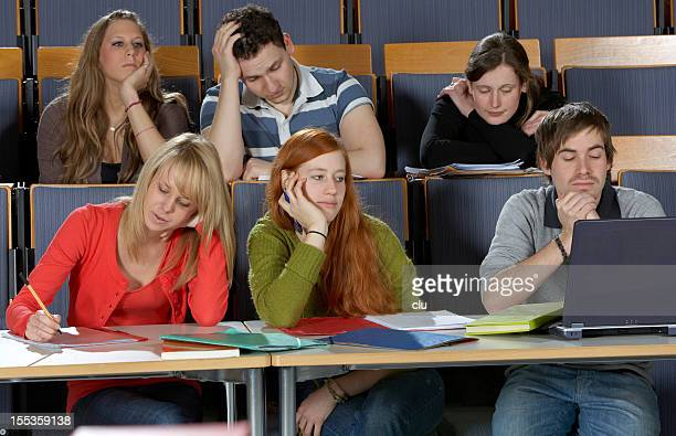 Students during a boring lecture