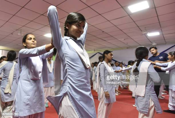 Students during selfdefence training at Police headquarters on April 19 2017 in Gurgaon India