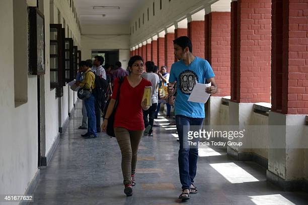 Students during the 2nd day for new admissions in north campus at Delhi University in New Delhi
