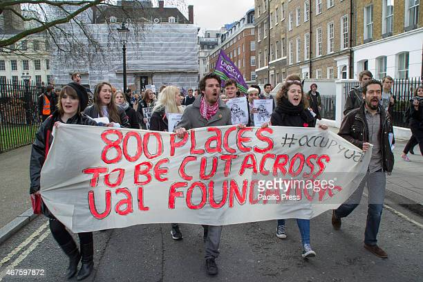 Students education workers and supporters marched from London School of Economics to the London College of Communication in Elephant and Castle under...