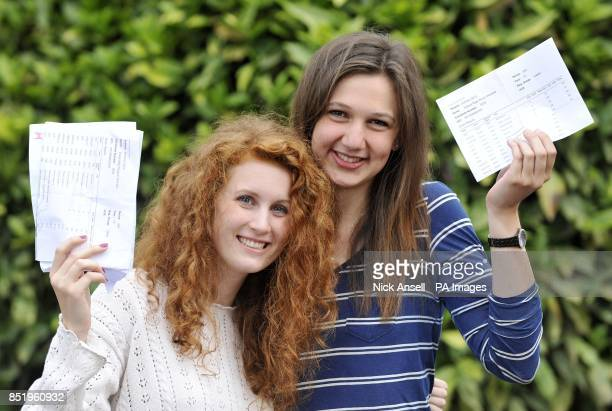 Students Eloise Davies from Good Easter who gained four A*'s and one A and Jessie Moxom from Brentwood who gained three A*'s and two A's and are both...