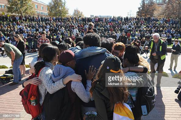 Students embrace one another during a forum on the campus of University of Missouri Columbia on November 9 2015 in Columbia Missouri Students...