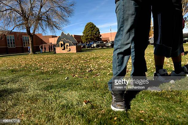 Students enjoy the fall weather on campus at Canon City High School which is at the center of a recent sexting scandal that officials believe...