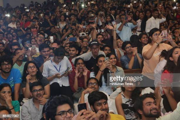 Students enjoy the session during the seventh edition of Shri Ram College of Commerce Youth Conference to inspire students on September 23 2017 in...