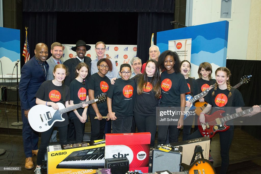 Students, (Back Row L-R) Evan Plummer Jeff Waraksa, Nick Colionne, Dick Hoffman, David Wish, and guest attend Chicago Public School Announces Music Program Expansion With Little Kids Rock at Franklin Fine Arts Center Auditorium on February 28, 2017 in Chicago, Illinois.