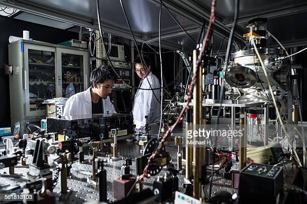 students examining at science laboratory