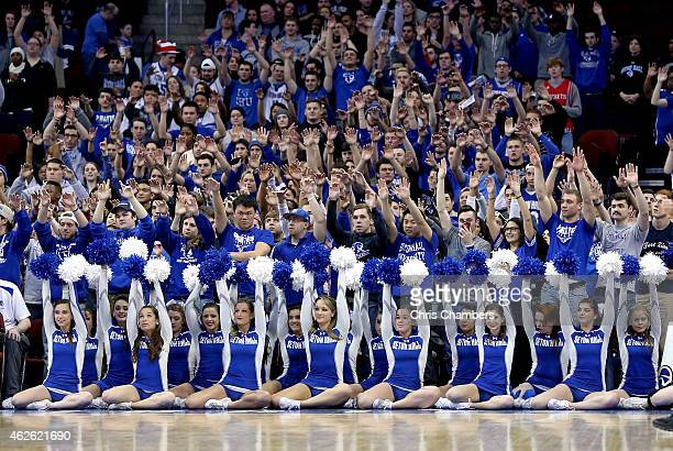 Students fans and cheerleaders for the Seton Hall Pirates support their school against the Xavier Musketeers during their Big East conference regular...