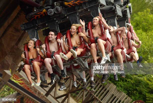 Students from 15 UK universities wear nothing but smiles at Thorpe Park in Surrey as they set an inaugural Guinness World Record for the most people...