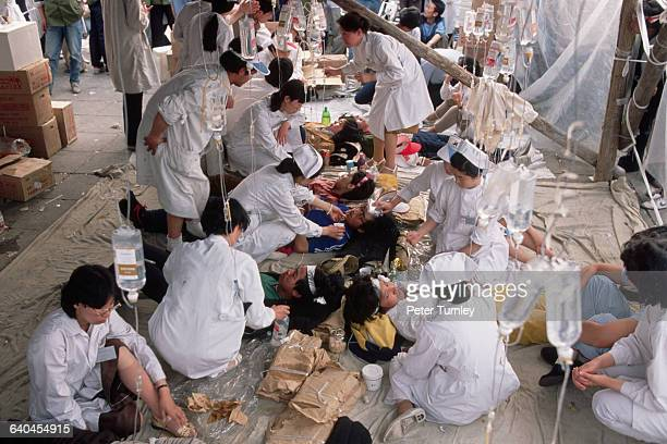 Students from a Beijing nursing school look after hunger strikers during the prodemocracy protests in Tiananmen Square