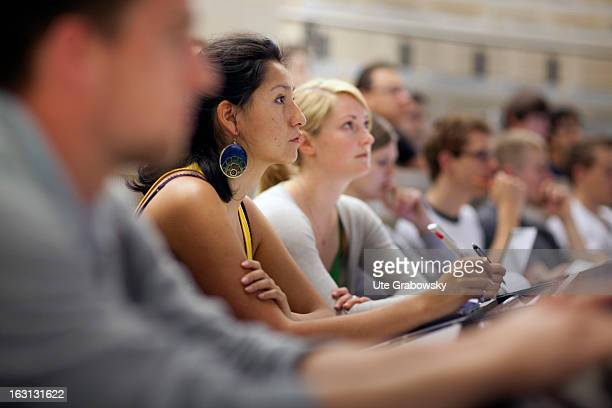 Students from a technical university sitting in a lecture hall