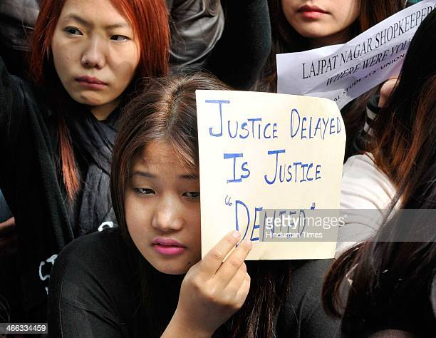 Students from Arunachal Pradesh protest for more than 24 hours after the death of Arunachal Pradesh youth Nido Taniam on February 1 2014 in New Delhi...