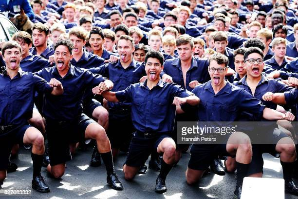 Students from Auckland Grammar school perform a haka following the funeral service for Sir John Graham on August 7 2017 in Auckland New Zealand The...