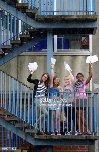 Students from Chelmsford County High School For Girls Maggie Fraser Emily Acorn Alice Drones and Abisayo Abiloye celebrate as they receive their GCSE...