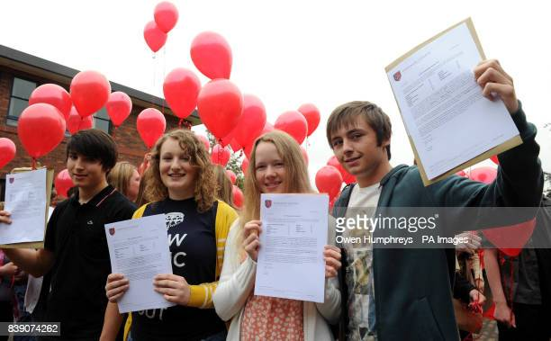 Students from Emmanuel College Gateshead Ezra Kitson Rosie Hewitson Elspeth Thomas and Andrew Cooper who all gained 11 A* grades in their GCSE results
