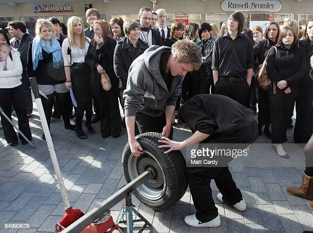Students from Exeter College take part in a demonstration as they celebrate the start of National Apprenticeship Week on February 23 2009 in Exeter...