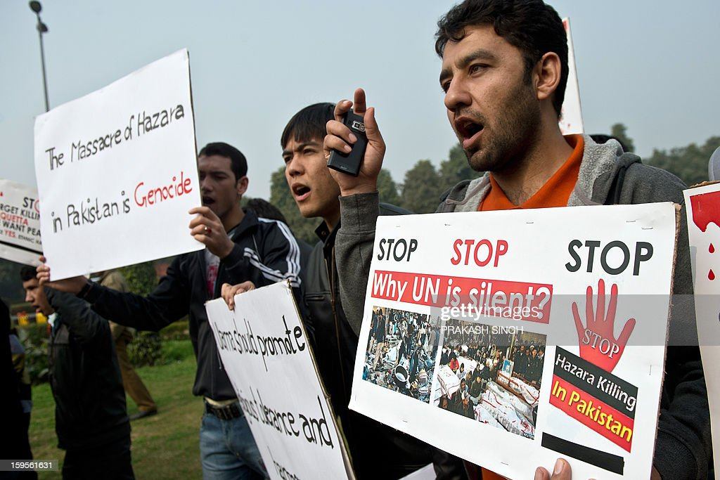 Students from Jamia Millia Islamia, Jawaharlal Nehru University, and Hamdard University shout slogans against what they claim is a genocide against the ethnic Hazara community in Pakistan, during a protest outside the Pakistan High Commission in New Delhi on January 16, 2013. The students participated in the demonstration to condemn the twin suicide attacks in Pakistan which killed 92 people in the southwestern city of Quetta on January 10. AFP PHOTO/ Prakash SINGH