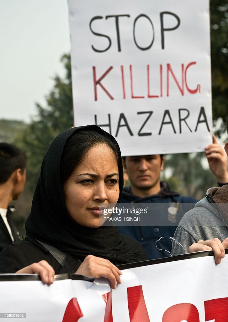 Students from Jamia Millia Islamia, Jawaharlal Nehru University, and Hamdard University demonstrate against what they claim is a genocide against the ethnic Hazara community in Pakistan, during a protest outside the Pakistan High Commission in New Delhi on January 16, 2013. The students participated in the demonstration to condemn the twin suicide attacks in Pakistan which killed 92 people in the southwestern city of Quetta on January 10. AFP PHOTO/ Prakash SINGH