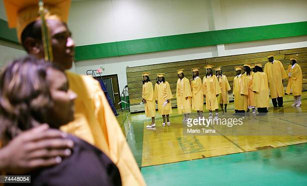 Students from John McDonogh Senior High School's first graduating class since Hurricane Katrina gather at their commencement June 8 2007 in New...