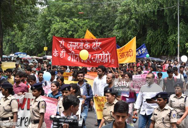 Students from left wing organizations stage Harmony Shall Win march against the allegedly growing number of violent incidents on campus at DU on...