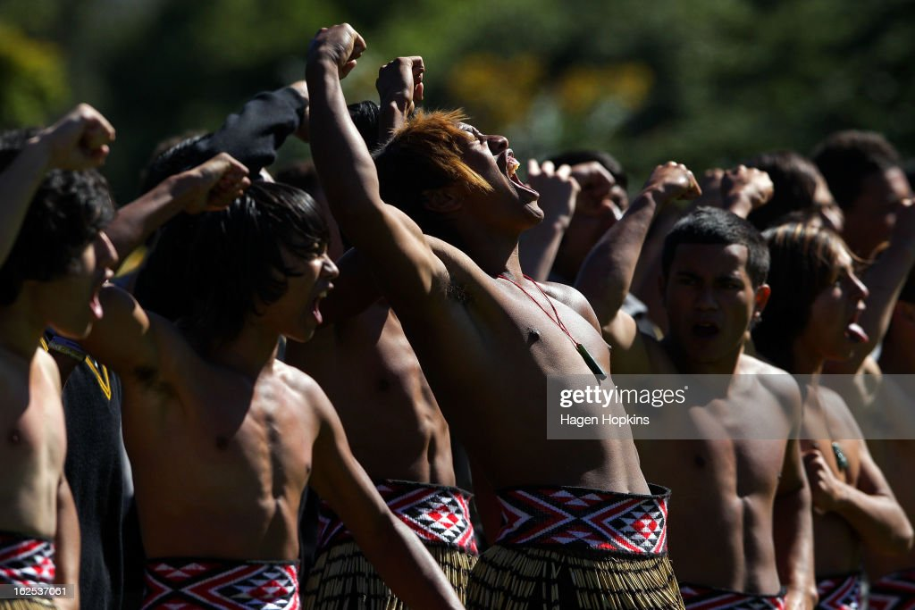Students from Rongotai College perform a haka for King Tupou VI during a State Welcome at Government House on February 25, 2013 in Wellington, New Zealand. The King of Tonga, His Majesty King Tupou VI, is in New Zealand making his first official state visit.