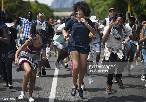 Students from Stellenbosch University protest against fee hikes through the centre of town on October 23 in Stellenbosch South African President...