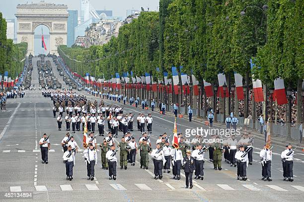 Students from the Air Forec special school march down the ChampsElysees avenue during the annual Bastille Day military parade in Paris on July 14...