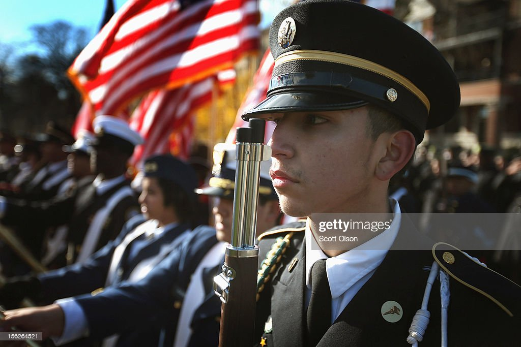Students from the Chicago Military Academy participate in the Chicago Veterans Day parade on November 12, 2012 in Chicago, Illinois. Veterans Day, held the anniversary of the signing of the armistice which ended the World War I, is celebrated to honor all veterans for their service.
