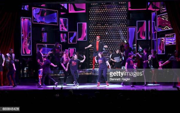 Students from the Harvey Milk High School perform during the TDF Honors Broadway's 'Kinky Boots' Curtain Call at Al Hirschfeld Theatre on March 20...