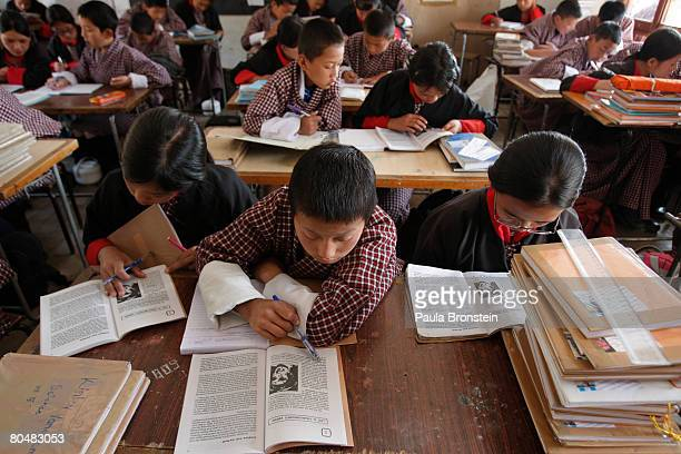Students from the Jigme Namgyal Lower Secondary study in a classroom March 31 2008 in Thimphu Bhutan School fees only cost between $1 $200 USD so its...