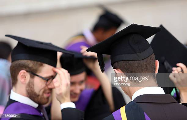 Students from the London School of Economics Political Science wear mortar boards during a ceremony for university graduates in London UK on July 18...