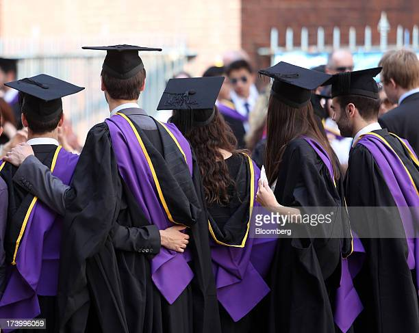 Students from the London School of Economics Political Science wear mortar boards and gowns during a ceremony for university graduates in London UK...