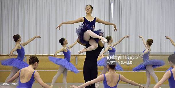 Students from the National Te Whaea Dance Centre take part in a classical ballet performance of the Entrée from Paquita for Camilla Duchess of...