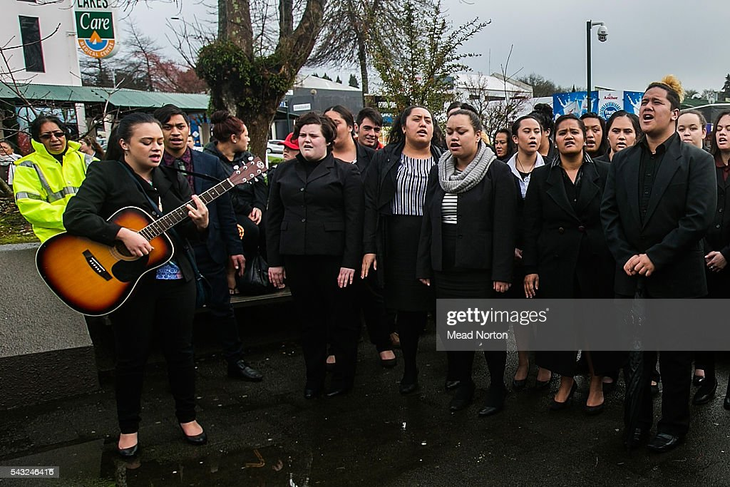 Students from the New Zealand School of Tourism came down to the courthouse to sing a song in the memory of baby Moko on June 27, 2016 in Rotorua, New Zealand. Three year old toddler Moko Rangitoheriri died on August 10, 2015 from injuries he received during prolonged abuse and torture at the hands of his carers. His killers Tania Shailer and David Haerewa were sentenced at Rotorua High Court today.