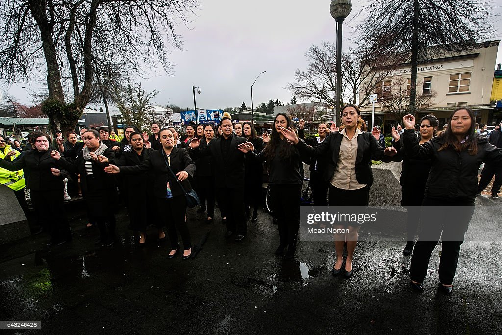 Students from the New Zealand Tourism School came down to the courthouse during their lunch break to perform a haka for baby Moko on June 27, 2016 in Rotorua, New Zealand. Three year old toddler Moko Rangitoheriri died on August 10, 2015 from injuries he received during prolonged abuse and torture at the hands of his carers. His killers Tania Shailer and David Haerewa were sentenced at Rotorua High Court today.