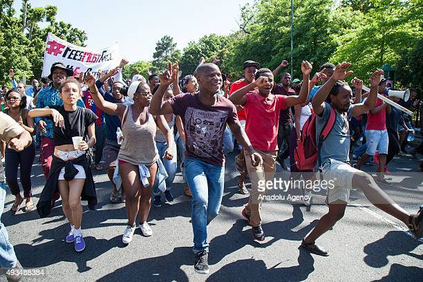Students from the University of Cape Town protest in Rondebosch Cape Town South Africa 20 October 2015 Protests against a proposed hike in tuition...