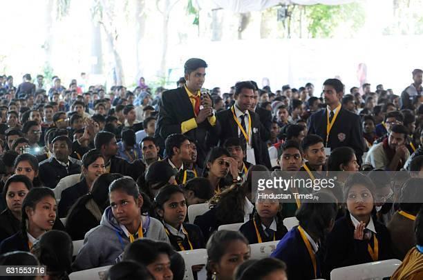 Students from various parts of Madhya Pradesh asking questions during a 'Vidyarthi Panchayat' at the residence of Madhya Pradesh Chief Minister...