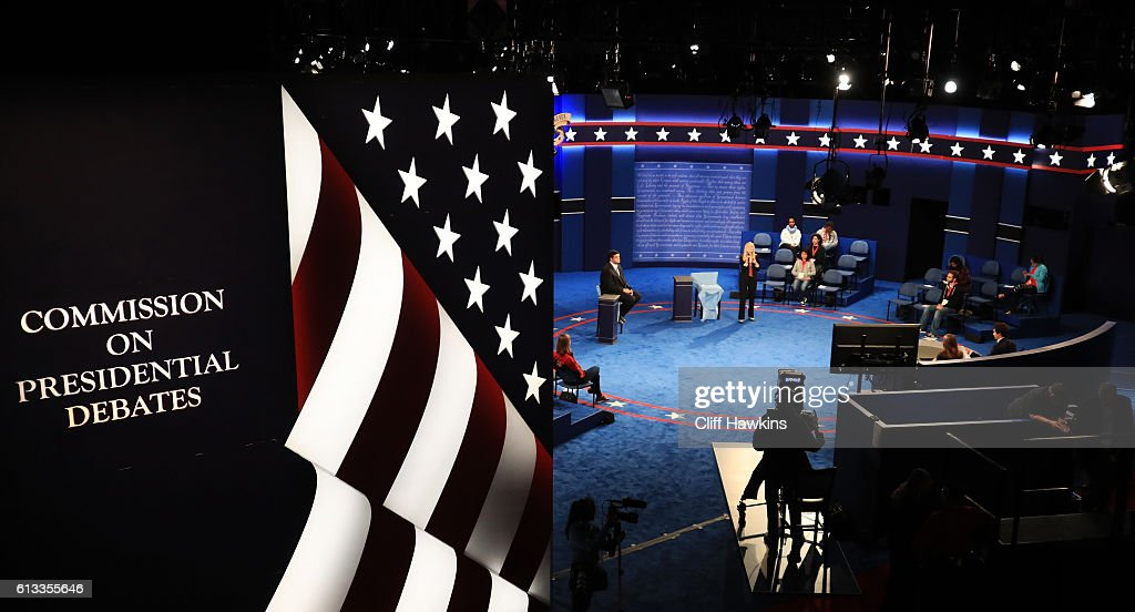 Students from Washington University rehearse as standins for the second presidential debate October 8 2016 in St Louis Missouri The second...