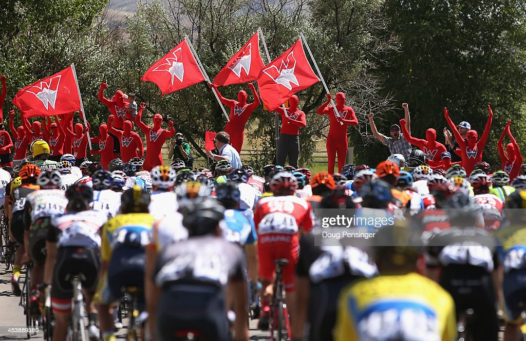 Students from Western State University escort the peloton through campus during the startt of stage three of the 2014 USA Pro Challenge from Gunnison to Monarch Mountain on August 20, 2014 in Gunnison, Colorado.