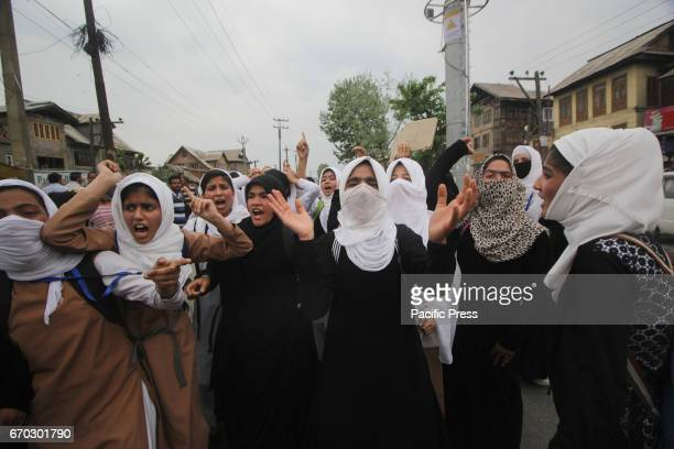 Students from Womens College Srinagar shouting profreedom slogans during protest