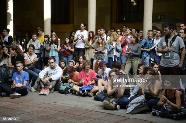 Students gather for a protest at the University of Barcelona against the arrest of two Catalan separatist leaders against their arrest on October 17...