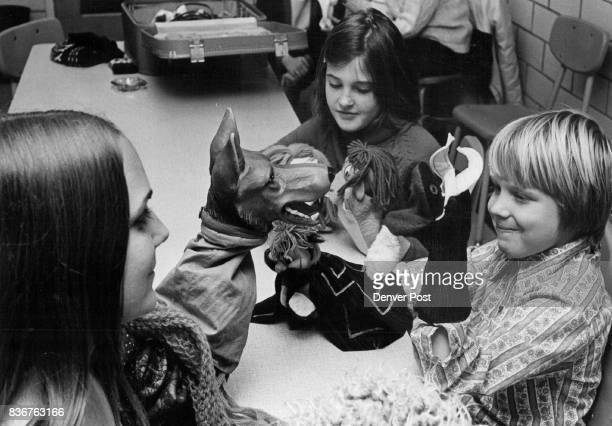 Students Given preview of Spaghetti Super Puppet Show Debbie Coleman senior shows puppets to Beth Nomina and Marshall Coleman Credit Denver Post