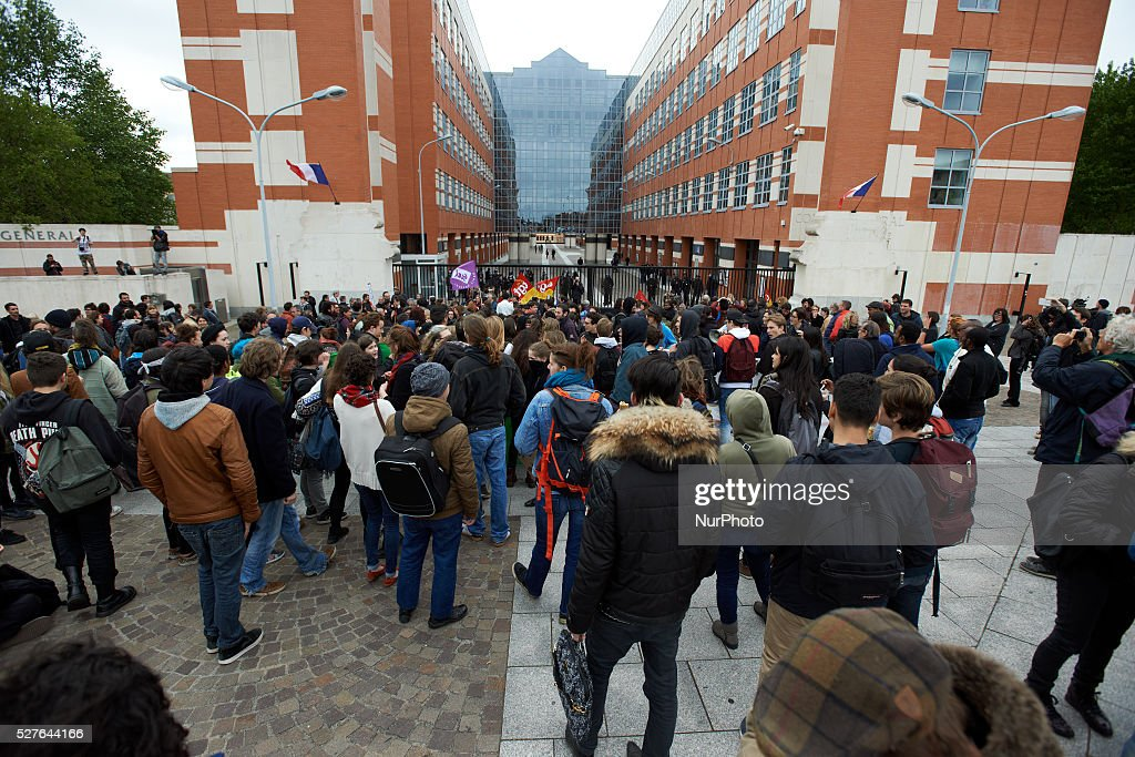 Students have rejoined trade unionists in front of the General Council of Haute-Garonne during a day of actions against the El-Khomri bill on labour reforms. Toulouse. France. May 3th 2016.