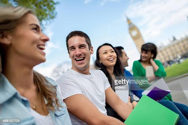 Students having fun in London