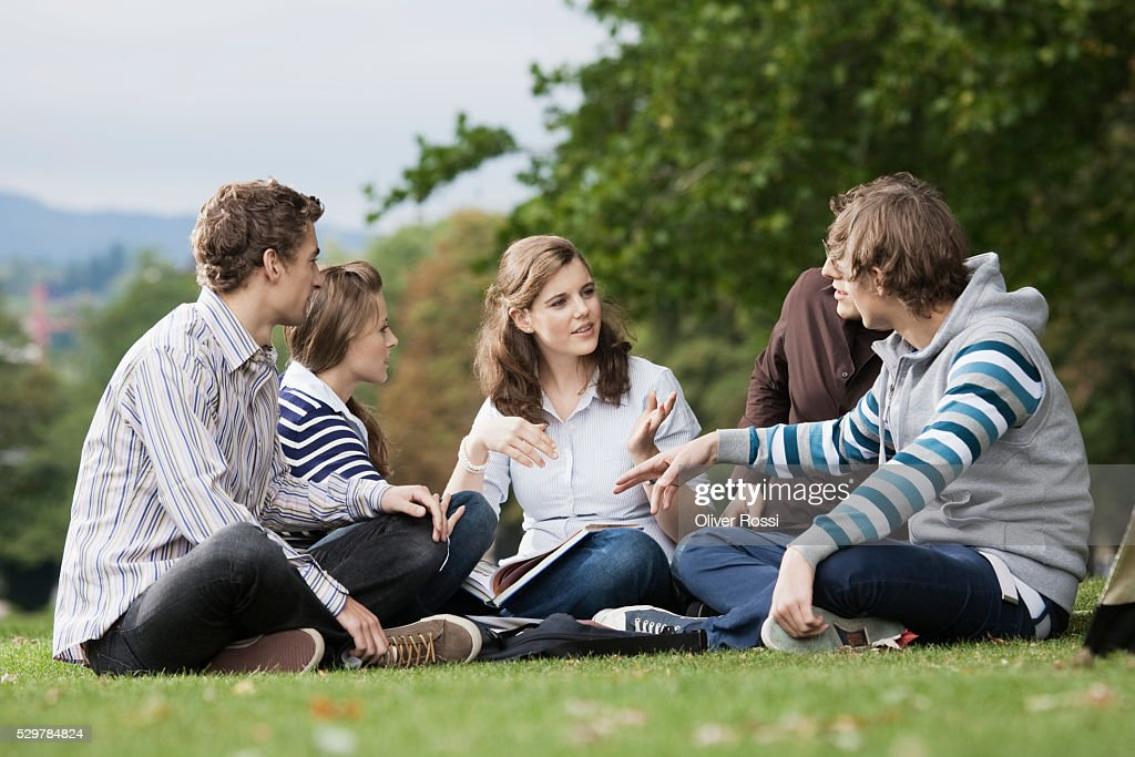 Students having study group on grass : Stock Photo