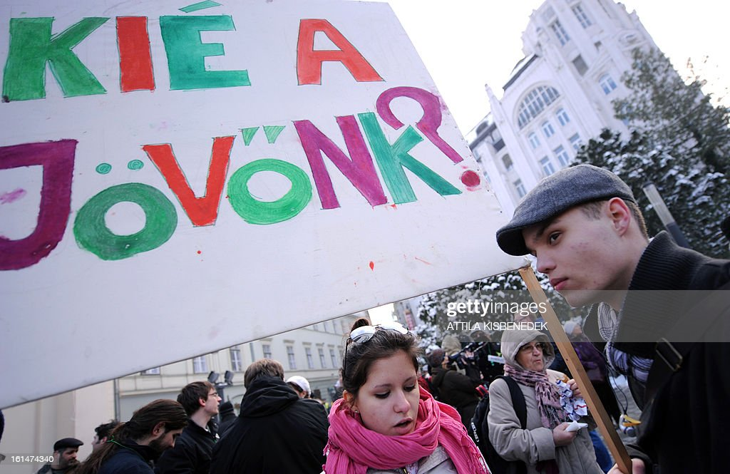 Students hold a banner with a question, 'Whose our future?' in Budapest's on February 11, 2013 prior to their march and demonstration to protest against the Hungarian government's education policy.