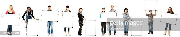 Students holding white boards, clipping path