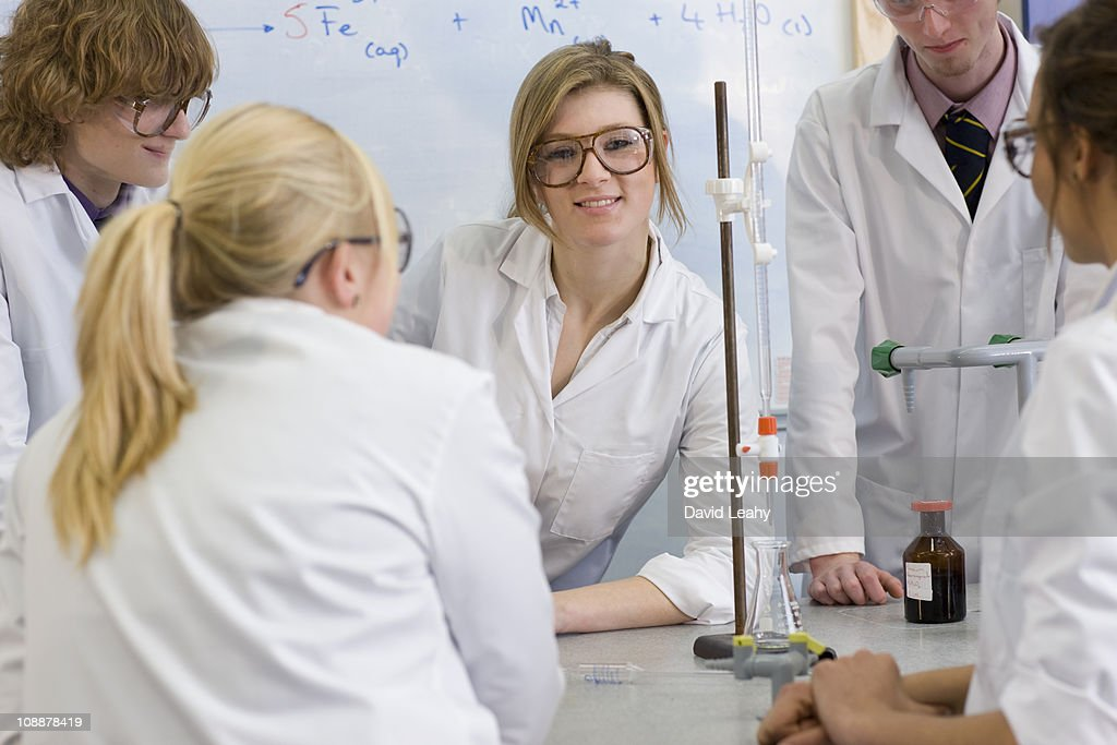 Students in a science class : Stock Photo